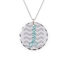 Custom name gray chevron Necklace
