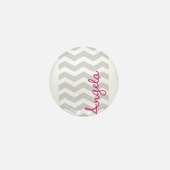 Personal name grey chevron Mini Button