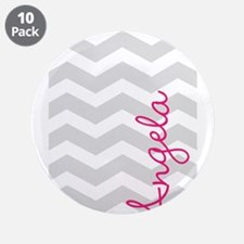"""Personal name grey chevron 3.5"""" Button (10 pack)"""