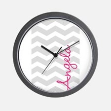 Personal name grey chevron Wall Clock