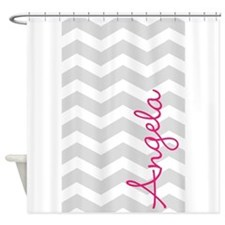 Personal name grey chevron Shower Curtain