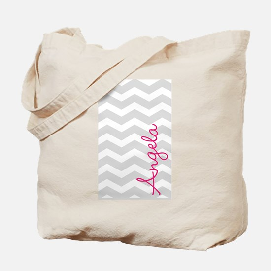 Personal name grey chevron Tote Bag