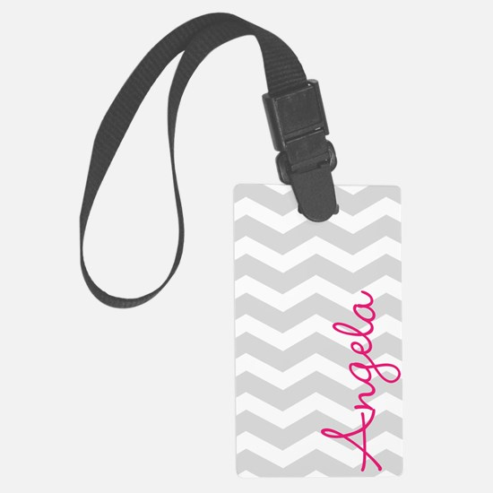Personal name grey chevron Large Luggage Tag