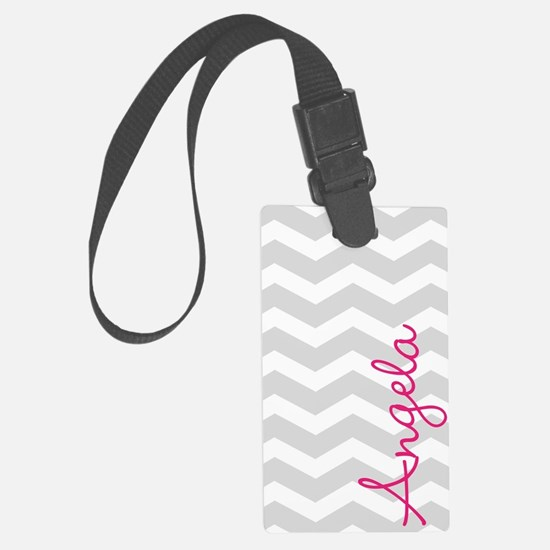 Personal name grey chevron Luggage Tag
