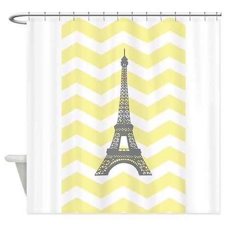 Gray Eiffel Tower Yellow Chevron Shower Curtain By Admin Cp49789583