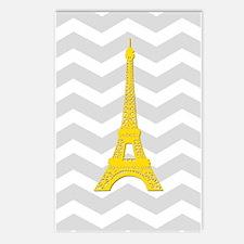 Yellow Paris Gray Chevron Postcards (Package of 8)
