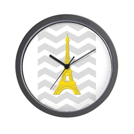 yellow paris gray chevron wall clock by admin cp49789583