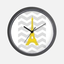 Yellow Paris Gray Chevron Wall Clock