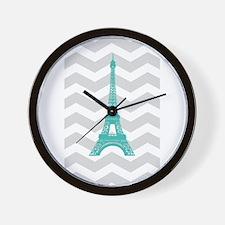 Turquoise Paris Grey Chevron Wall Clock