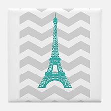 Turquoise Paris Grey Chevron Tile Coaster