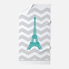 Turquoise Paris Grey Chevron Beach Towel