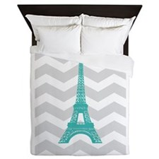 Turquoise Paris Grey Chevron Queen Duvet