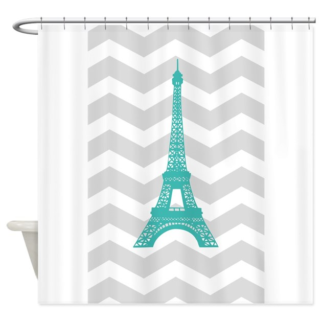 Turquoise Paris Grey Chevron Shower Curtain By Admin