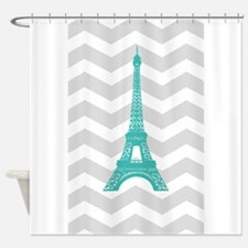 Turquoise Paris Grey Chevron Shower Curtain