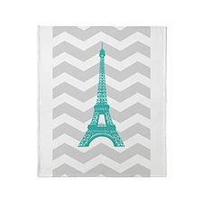 Turquoise Paris Grey Chevron Throw Blanket