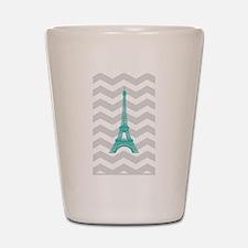 Turquoise Paris Grey Chevron Shot Glass