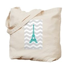 Turquoise Paris Grey Chevron Tote Bag