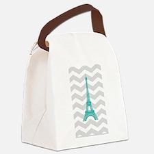 Turquoise Paris Grey Chevron Canvas Lunch Bag