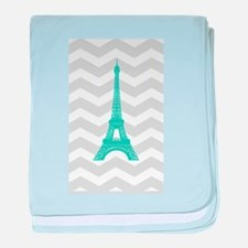 Turquoise Paris Grey Chevron baby blanket