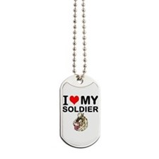 I Love My Soldier Dog Tags