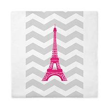 Grey Chevron Pink Paris Queen Duvet