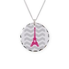 Grey Chevron Pink Paris Necklace