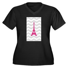 Grey Chevron Pink Paris Plus Size T-Shirt