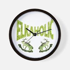 Elkaholic elk camp apparel Wall Clock