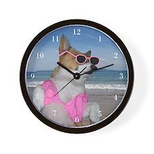 Sunbathing Corgi Wall Clock