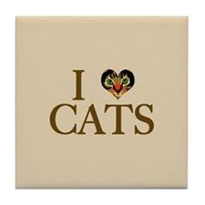 I Heart Cats Tile Coaster