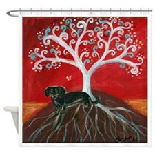 Dachshund Tree of Life Shower Curtain