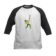 Cricket Player Batsman Batting Front Cartoon Isola