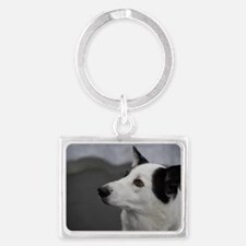 Black and White Canaan Dog Landscape Keychain