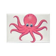 Cute Pink Octopus  Rectangle Magnet