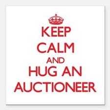 Keep Calm and Hug an Auctioneer Square Car Magnet