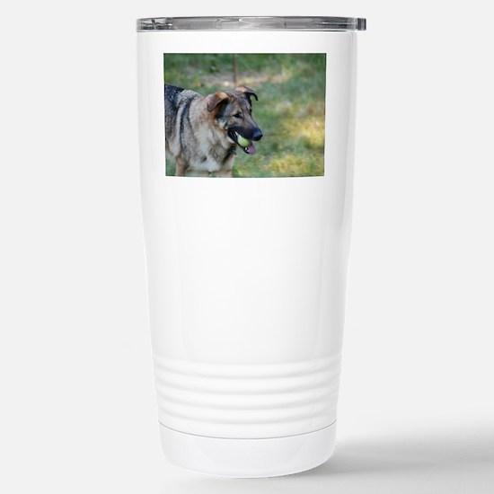 German Shepherd with a  Stainless Steel Travel Mug
