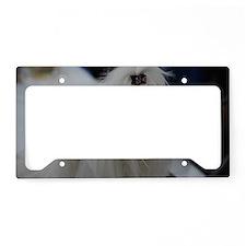 Small White Dog License Plate Holder
