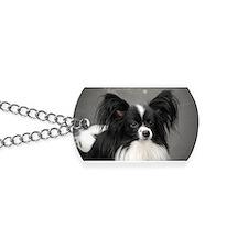 Black and White Papillon Dog Dog Tags