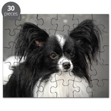Black and White Papillon Dog Puzzle