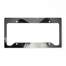 Black and White Papillon Dog License Plate Holder