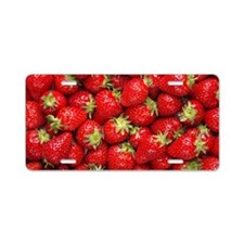 Shiny Strawberries  Aluminum License Plate