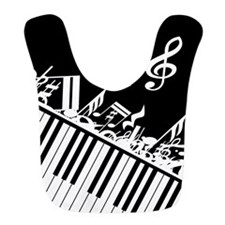 Stylish designer piano and music notes Bib