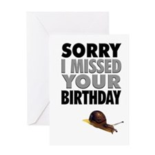 Humorous Belated Birthday Snail Greeting Card