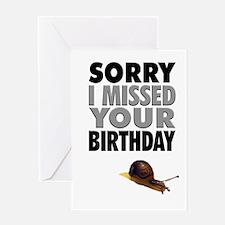 Humorous Belated Birthday Snail Greeting Card
