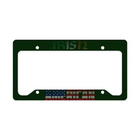 Irish American Flag Text License Plate Holder