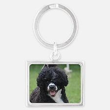 Adorable Portuguese Water Dog Landscape Keychain