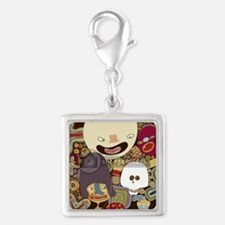 happy mom Silver Square Charm