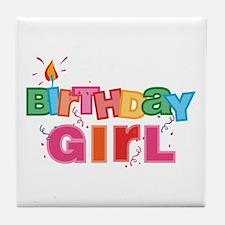 Birthday Girl Letters Tile Coaster