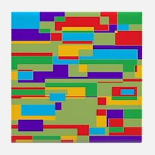Green, red, purple, aqua and yellow g Tile Coaster