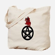 Red Dragon on Pentacle Tote Bag
